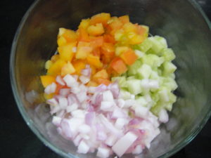 Chopped veggies.