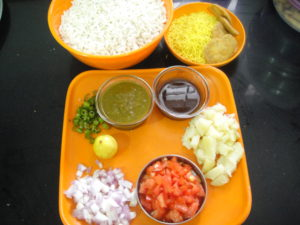 All the main ingredients of bhel puri.